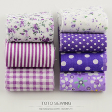 F028# new arrivals purple sets 100%cotton fabric 7pcs/lot 5cm x100cm quilting patchwork jelly roll fabric strips handmade crafts