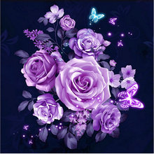 New 3d diy Diamond Embroidery Diamond Painting purple rose flowers image Diamond Painting Cross Stitch home Decoration handcraft(China)