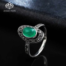 Jessiepepe Brand Vintage Retro Rings Anels For Women With Top Quality Green Jade Antique Plated Top Quality Quality #RB00654