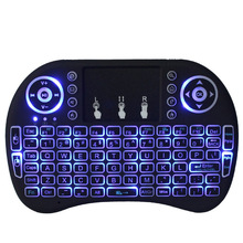 i8 Russian Wireless Keyboard With touchpad 3 Color delux USB LED Backlit Air Mouse Controllor for Samsung TV Box Mac pc computer