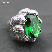 LYCOON Newest AAA class Crystal elegant queen Rings silver plated luxury white cubic Zirconia prong setting Leopard claws ring