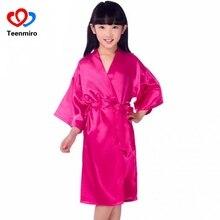 Baby Pajamas Girls Dress Summer Kids Satin Kimono Bathrobes Girl Robe Sleepwear Solid Home Wear Children Clothing Nightshirt