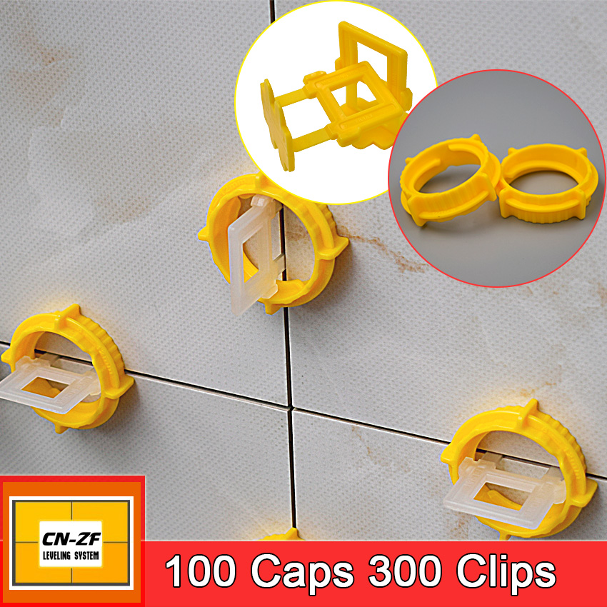 100 Caps 300 Clips Kits Plastic Ceramic Accessories Livellamento Level Floor Spacers Tiles Tools Tile Leveling System With Tool<br>