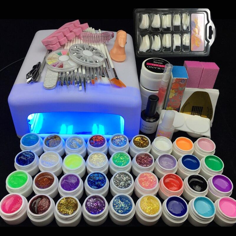 On sale discount BURANO nail uv gel polish set 36 uv color gel manicure set nail tools set nail kit set 009 white<br>
