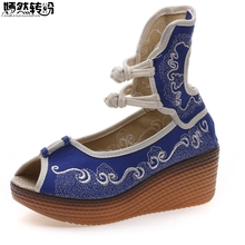 Chinese Women Sandals Canvas Embroidered Vintage Original High Heel Peep Top Wedges Platform Shoes For Ladies Zapatos Mujer(China)