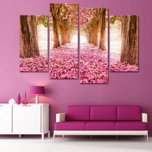 4 Pcs/Set Pink Cherry Tree Canvas Print Painting Modern Natural Landscape Wall Art Picture for Living Room Bedroom Decor(China)