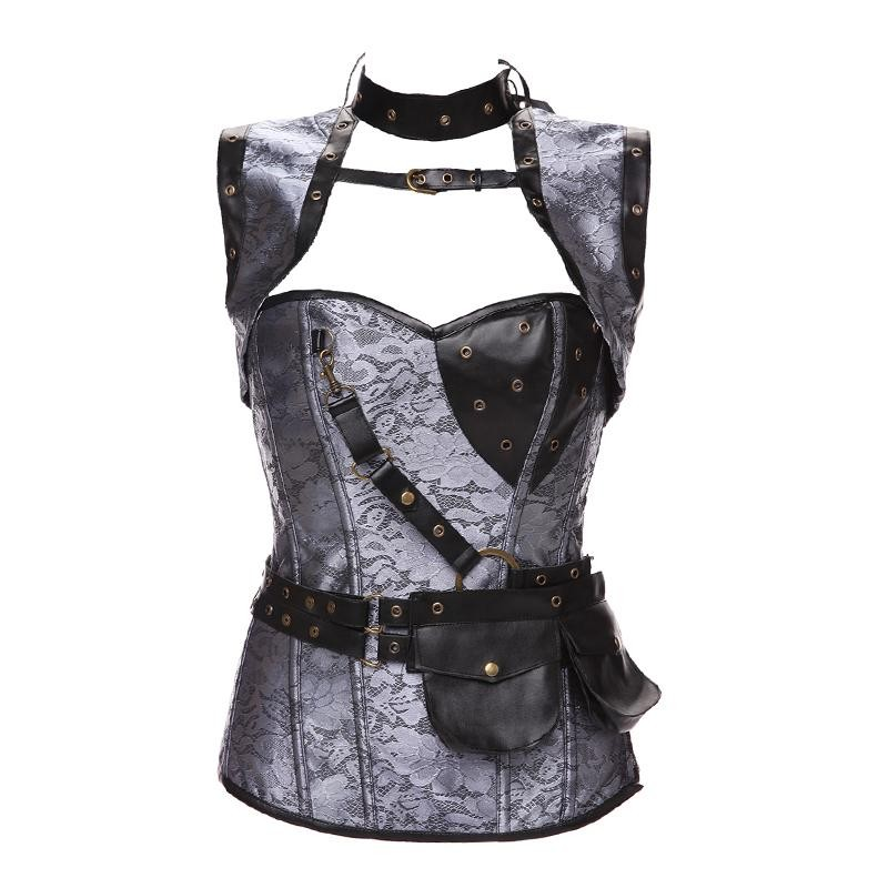 Plus Size 6XL Punk Corset Faux Leather Steel Boned Gothic Clothing Waist Trainer Basque Steampunk Corselet Cosplay Outfits Brown (4)