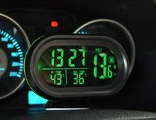 Auto Digital Car Voltmeter Thermometer led Voltage Meter temp Tester Monitor luminous clock 50%off(China)