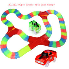 180-300 Pcs New Glowing Tracks Racing Bend Flex Glow in the Dark Assembly Toy Race Track Set + 1pc Lane Change(China)