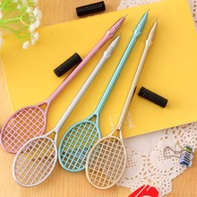 Ayron 1 pcs Kawaii Badminton Ballpoint Pen Rack Novelty Personality Signature Gel Pen School Stationery Office Supplies