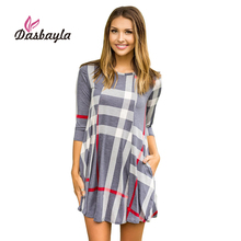 Dasbayla Women Plaid Dress 2018 Spring 3/4 Sleeve Asymmetrical Hem Mini Dressds Round Neck vestidos Female office Dress(China)