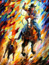Professional Painter Hand Painted High Quality Western Cow Boy Oil Painting On Canvas Modern Abstract Cowboy Canvas Painting