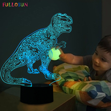 Funny 3D Visual LED Dinosaur Shape Night Lamp LED Colorful Table Lamp as Kids Room Decorations & Child Toys Gifts(China)