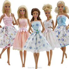 5x Handmade Short Dress Strapless Sexy Wedding Wear Lace Flowers Bowknot Mixed Style Skirt Clothes For Barbie Doll Accessories(China)