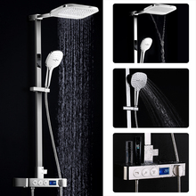 Bathroom Fixture Modern Exposed Shower Set Rian And Waterfall Shower Faucets Digital Display Thermostatic Bath