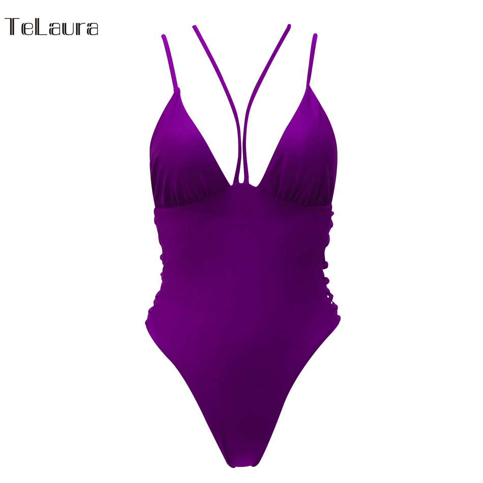 2018 Sexy One Piece Swimsuit Women Swimwear Bandage Monokini Hollow Out Bathing Suit Solid Swim Suit Bodysuit Summer Beach Wear 26
