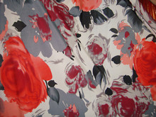 red flowers, Latin dance clothes, fashion clothing, stretch cloth, four shells, South Korea ice silk screen cloth(China)