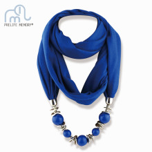 9 Colors Ethnic Unique Scarf Necklaces Resin Beads Pendant Neckerchief Statement Necklace Wraps Women Bohemia Necklaces Jewelry