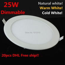25W Dimmable LED Ceiling Downlight  Natural white/Warm White/Cold White AC110-220V led panel light with driver  2 Years Warranty