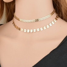 Buy MissCyCy Vintage Double Layer Sequins Necklaces Fish Scales Chocker Necklace Sexy Bohemia Style Jewelry Women Gift for $1.48 in AliExpress store