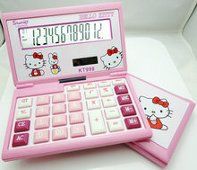 2017 Hello Kitty New Cute Calculator Folding Cartoon Calculadoras Dual Solar Power Desktop Calculating