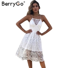 BerryGo Halter backless white lace dress Women sexy lace up hollow out summer dress Elegant mesh bow party dress vestidos