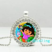 New Sale Dora Explorer Pendant Necklace Lovley Dora Crystal Necklaces Jewelry Silver Pendants Ball Chain Gifts For Children