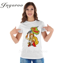 Ingoroo Brand Girl Power T Shirt Queen Punk White Rose T-shirt Feminist Hipster Kawaii Shirt French Bulldog Funny Tee Blusa