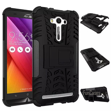 For Asus Zenfone 2 Laser ZE550KL Case 5.5inch Hybrid Kickstand Dazzle Rugged Rubber Armor Hard PC+TPU Stand Function Cover Cases(China)