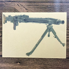 "FW-197  Russia military weapon ""machine gun "" vintage poster Retro Kraft paper wall art craft sticker home decoration 42x30cm"