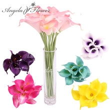 HI-Q 12PCS Artificial decorative flowers PU Real Touch 15COLORS Mini Calla Lily for Wedding HOME table decoration