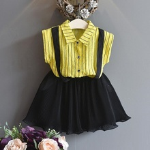 New 2017 Summer Baby Toddler Girls Clothing Sets Kids Girl Clothes Striped Yellow Shirt+Black Pleated Skirt 2 Pcs Suit JW2220