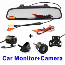 4.3 Inch Auto Parking System HD Car Rearview Mirror Monitor with 170 degrees Waterproof Car rear view camera FREE SHIPPING