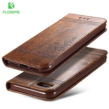 FLOVEME Phone Cases For iPhone 7 6 6s Plus Retro Leather Wallet Accessories Case For iPhone 6 7 6s 5s 5 Flip Stand Cover Capa
