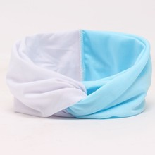 contrast color and solid color Women Elastic Turban Twisted Knotted Headband Stretch Girl Yoga Hair Accessories(China)