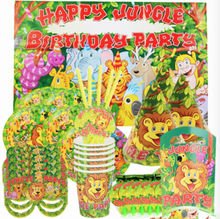 Forest animals Birthday Party Supplies Deluxe Party For 6 Birthday hat Paper cup Blow out Dragon Pointy hat Tablecloth