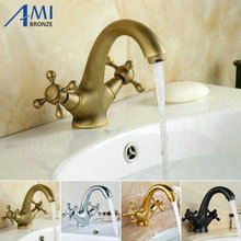 Swan Style Bathroom Basin Faucet Hot Cold Mixer Tap Brass Brass Basin Tap Golden/Chrome/Antique/Oil Black Faucets 9019(China)