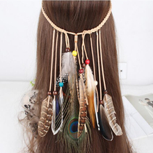 Fashion Jewelry Brand New Celebrity Style  Vintage Long Tassel Bohemia Feather Headband Wooden Beads Feather Long Hair Dress