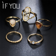 IF YOU Vintage Imitation Opal Stone Mini Knuckle Rings Set Antique Gold Color Geometric Triangle Crystal Rings Anillos Mujer