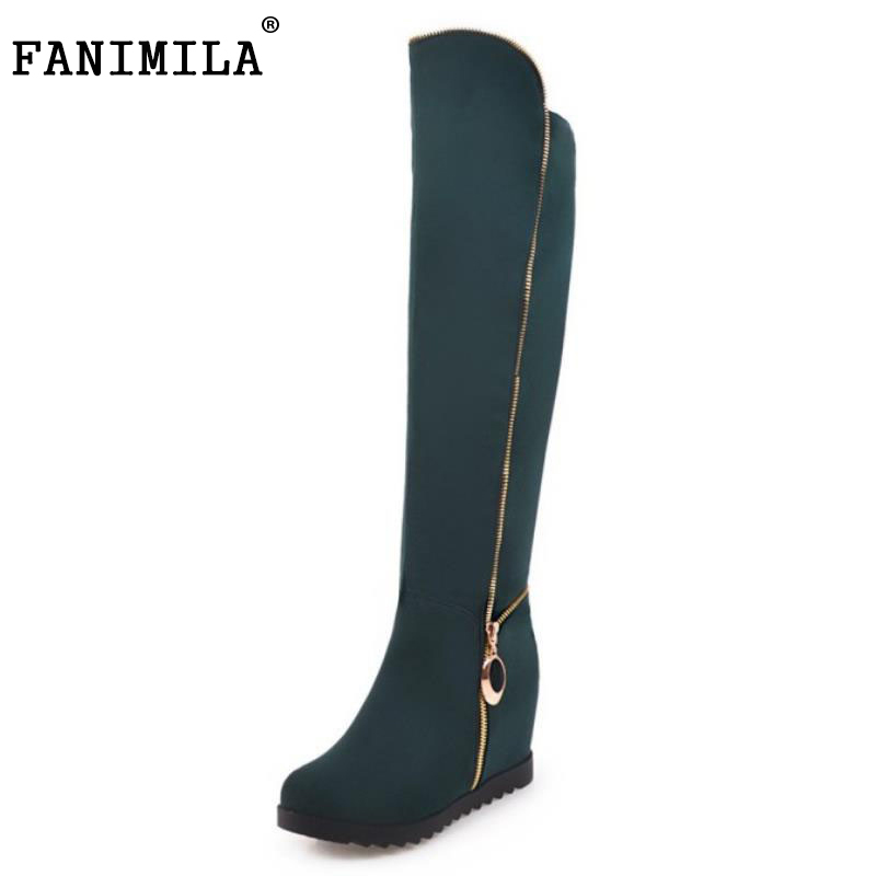 FANIMILA Size 33-43 Women Over Knee Wedges Boots Zipper Winter Fur Botas Warm Long WomenS Boot Height Increasing Lady Footwear<br>