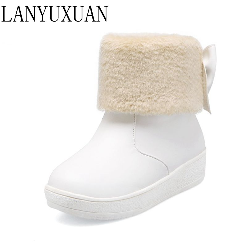 LANYUXUAN 2017 Real Botas Mujer Snow Boots Big Size 34-43 New Round Toe Buckle For Women Casual Fashion Warm Winter Shoes 77-2<br>