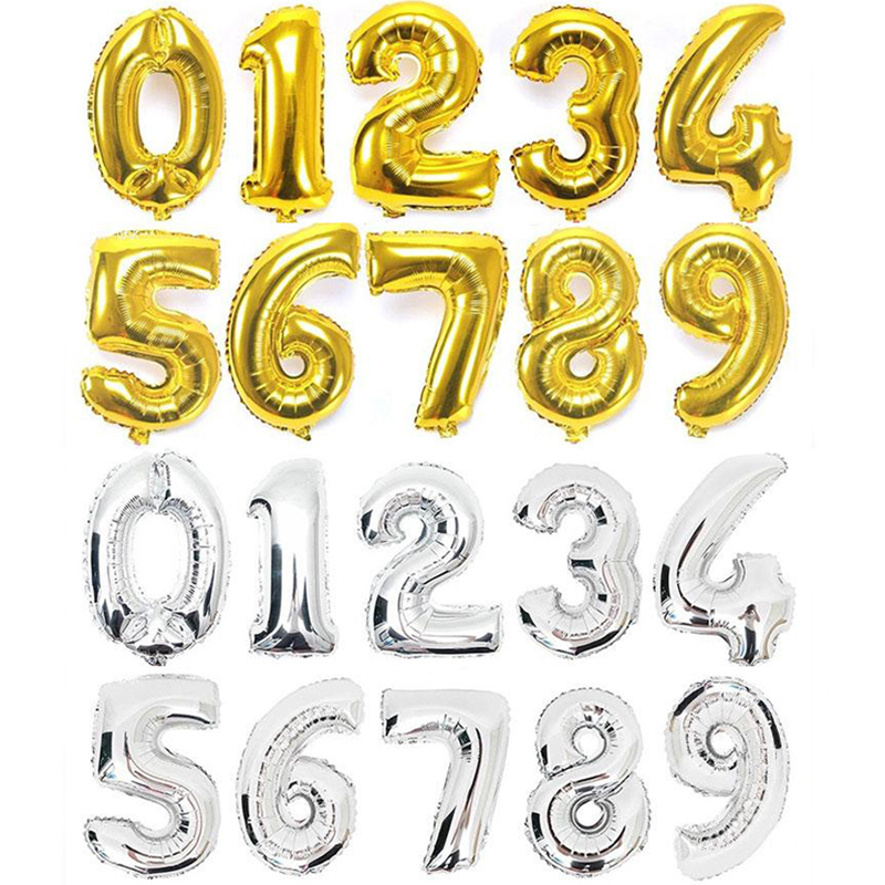 32inch Gold Silver Number Foil Balloons Digit Air Ballons Happy Birthday Wedding Decoration Helium Balloon Event Party Supplies