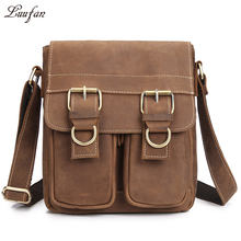 Men's genuine leather messenger bag iPad casual cross body bag crazy horse leather messenger bag for iPad Small travel bag(China)