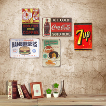 Metal Signs Hot Dog Coke Cake 7-up Hamburg Cafe Coffee House Beer Pub Bar Man Cave Wall Stickers Iron Plaques Decor