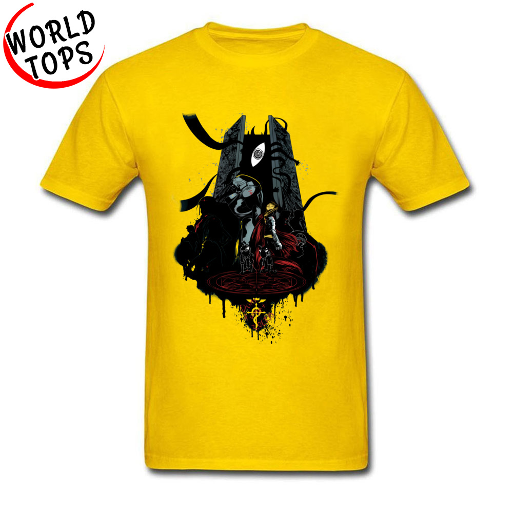 Funny T Shirt Cheap Round Neck FullMetal Tee 20549 100% Cotton Man Tees Casual Short Sleeve Tee-Shirt Top Quality FullMetal Tee 20549 yellow