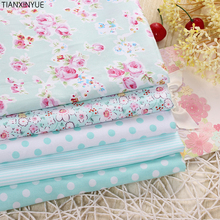 Victoria Rose flower fabric 95% Cotton Fabric for Patchwork Sewing farbic Telas Tissus Dot cushion Cloth 5pcs 40cm*50cm(China)