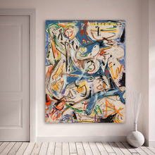 QK ART Abstract Artwork Oil Painting Wall Art Pictures For Living Room Home Decor Printed Canvas Art Jackson Pollock