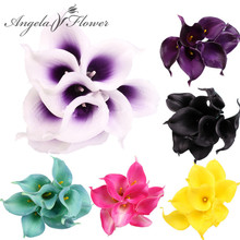 HI-Q Colorful 1PCS Artificial decorative flowers PU Real Touch Mini Calla Lily Wedding flower bouquet for HOME table decoration(China)