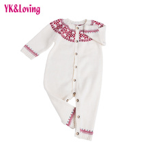 Knit Sweater Baby Jumpsuit for Girls or Boys 2017 Spring New Arrival  White Romper as Birthday Gift Warm Children Clothes Cheap
