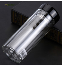 1PC LONGMING HOME New popular double layer glass heat resistant transparent glass advertising water bottle KD 1461